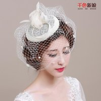Wholesale Weddin Gift - Hot Sale new bride light dream Europe type manual bride headdress gift hat yarn net restoring ancient ways wedding hair accessories weddin