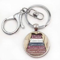 Wholesale Future Metals - A great teacher takes a hand opens mind and touches heart shapes future keychain 2017 Teacher's Day gifts key chain