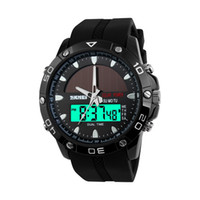 Wholesale Display Solar Led - Luxury watch men's dual-core sports watch multi-functional outdoor solar energy meter waterproof calendar backlight LED digital display