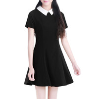 черные платья оптовых-Wholesale- Black Dress White Collar Summer Cute Peter Pan Collar School Preppy Style Dresses Zipper Short Sleeve  Vestidos Femininos