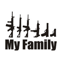Wholesale Family Decal Car Stickers - 30 pieces lot My Family Car styling Cartoon Gun Car Stickers Funny Window Laptop Vinyl Car-Styling Motorcycle Decals decoration