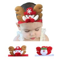 Wholesale cute snowman plush - Baby cute Christmas dolls hairband Santa Snowman plush headband 2colors 3d dolls headband for infants Christmas headwear festivals props