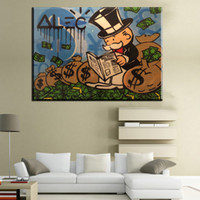 Wholesale Money Spray - ZZ248 money Alec monopoly read newspaper Graffiti art handpainted on canvas for wall picture decoration oil painting in living room