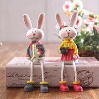 Wholesale Couples Figurines - Lover Toy Rabbit Figures Figurines Resin Artware Lovely Couple Ornaments Doll For Home Decoration 2 pcs set Free Shipping