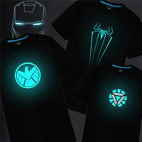 Wholesale Light Brown Shirt Men - 2017 Summer Luminous Light Emitting t Shirts For Men Iron Man Avengers 2 Shirts For Men Fluorescence Superman Male Cotton Tee Tops
