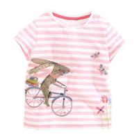 Wholesale Wholesale Child Bikes - 2017 Summer New Baby Girl T-shirts Bunny Ride Bike Pink Stripe Cartoon Short Sleeve T-shirts Children Clothing 1-6Y 50727