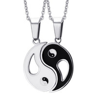 Wholesale Couples Necklaces Stainless Steel - 2P BFF Charm Pendant Necklaces Eight Diagrams Yin Yang Black and White Best Friends friendship Couples Lover Valentine Gift New