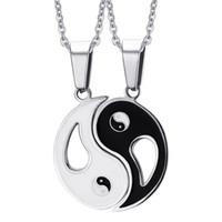 ingrosso pendente di amanti di yin yang-2P BFF Collane con pendente di fascino Otto diagrammi Yin Yang Bianco e nero Best Friends amicizia Coppie Lover Regalo di San Valentino Nuovo