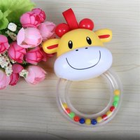 Wholesale Wholesale Plastic Baby Elephant - Wholesale- 0-3 Year Cute Safety Baby Rattle hand Bell Ring Bell Toy 2 Style Elephant Calf Animals Toys Gift for Baby 0-24Months