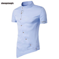 Wholesale Wholesale Slim Fit Shirts - Wholesale- 2017 Fashion Mens Shirt Cotton embroidery High Quality Dress Shirts Men Casual Slim Fit short Sleeve Shirt Social Men Clothes