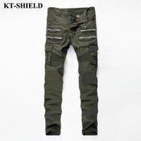 Wholesale Mens Cargo Denim Pants - Wholesale- 2017 Mens Skinny Biker Jeans Army Green Brand Fashion Denim Pants Pockets Cargo Pant Men Slim fit Jeans Cotton High quality