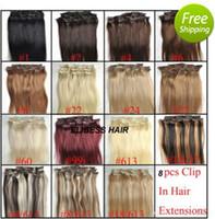 extensões de cabelo remy clip 24 polegadas venda por atacado-Grampo de cabelo humano colorido do cabelo humano brasileiro reto de Remy do produto de Juancheng nas extensões 140 gramas 12 a 26 polegadas