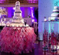 masa için tutu etekleri toptan satış-Ruffled Tutu Masa Etekler El Yapımı Düğün Masa Örtüsü Etekler Renkli Kek Masa Süslemeleri Düğün Parti Olay DIY Için Masa Ruffles