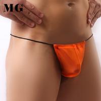 Wholesale Simple Thong - Mr.Gun 7pcs pack Wholesale Cheap Thongs Underwear Big Man Sexy Penis Sheath T-back Simple G-strings Gay Men Pouch Wearing Panty