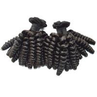 insan saçı kıvırcık ombre paketi toptan satış-Ombre İnsan Saç Demeti 3 adet Funmi Saç Uzantıları Brezilyalı Şişme Kıvırcık Saç Örgü G-EASY