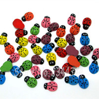 Wholesale Ladybug Favor - Wholesale-20 pcs Mixed color Wood lovely Ladybug Flatback Scrapbooking Crafts Fit DIY Craft Home Party Holiday Decoration Crafts