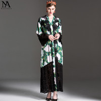 Wholesale Elegant Print Dresses - New Arrival 2017 Women's O Neck Long Sleeves Lace Patchwork Printed Loose Design Elegant Cardigan Maxi Runway Dresses