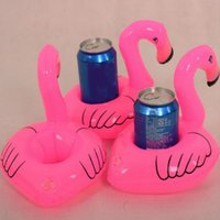 Wholesale Inflatable Mini Toys Wholesale - 12pcs lot PVC Inflatable Mini Cute Flamingo Drink Can Holder Floating Swimming Pool Bathing Beach Party Kids Toy Bath Toy