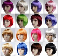 Wholesale Wig Cosplay White - 17 color lady cosplay wigs short Hair Wig NightClub bar bob haircut Party lace wigs women silk periwig