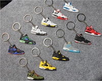 Wholesale Iron Rhinestone Cross - 2017 hot fashion Basketball Shoes Keyrings Chain Rings Charm Sneaker Keychains Hanging Accessories small Sneakers keyring KeyChain
