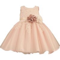 Wholesale clothes images online - Fashion Flower Girls Dress Applique Bow Tiered tulle Wedding Pageant Summer Princess Party Dresses Clothes flower girl s prom dress