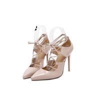 gelin nedime sandaletler toptan satış-Yeni Stil Düğün Gelin gelinlik ayakkabı gladyatör roma lace up strappy kafes içi boş pompaları kesip sandalet yüksek topuk k ...
