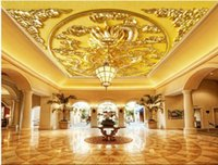Wholesale Traditional Chinese Dragon Painting - 3d wallpaper custom photo mural Golden Dragon Relief Zenith ceiling murals decoration painting 3d wall room murals wallpaper for walls 3 d