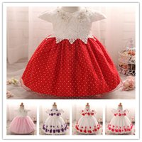 Wholesale Wholesale Pearls For Beading - Baby Girls Pearls Lace Princess Ball Gown Flower Embroidery Baptism Dress Infants Flower girls dress 3sizes for 0-2T
