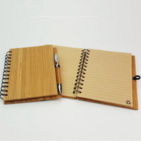 Wholesale Wood Bamboo Cover Notebook Bamboo Eco Friendly Note Book With Pen Recycled Lined Paper Notes Coil Notepads OOA2306