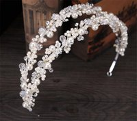 Mariage Bridal Pearl Crown Tiara Headband Headpiece Accessoires pour cheveux Bijoux Crystal Rhinestone Hair Band Bandeau argenté Double Headress