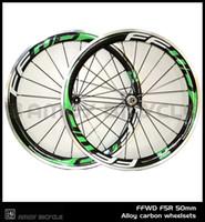 carbon fahrrad räder legierung bremsfläche großhandel-Neu! 700C FF-WD Green Malerei 50mm Drahtreifen Felge Rennrad 3K Carbon-Fahrrad-Laufradsatz mit Alu-Bremsbelag Carbon-Räder