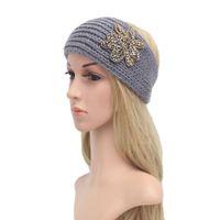 Wholesale Knit Headbands Rhinestones - Women Winter Knitted Headband with Flakes of snow Crochet Rhombus Rhinestone Hair Accessories Ladies Elastic Hair Bands Muslim Head Band