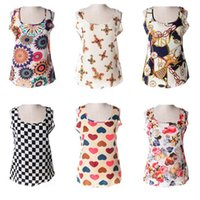 Wholesale Mix Colors S Blouses - Mixed colors wholesale Summer Women Chiffon Blouses Sexy O Neck Sleeveless Casual Flora Printed Shirts Blusas Vest