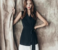 Wholesale Splash Suit - 2017 summer new Korean ladies sleeveless splash hit color tie with lotus leaf suit collar dress