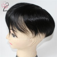 Wholesale Male Real Hair - Wholesale Price Color 1B 6'' Real Human Hair Mono Male Toupee in Stock