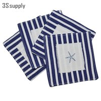 Wholesale Stripe Tablecloth - Wholesale- 4Pcs Set Stripes Table Mat Placemat Cup Pad Pastoral Modern Cotton Coaster Decorative Heat Insulation Tablecloth High Quality