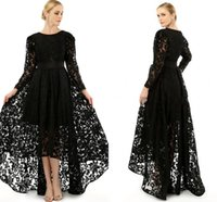 Wholesale sheer crew formal long prom dress for sale - Group buy Elegant Black Long Sleeve Plus Size Special Occasion Dresses Crew Neck A Line Formal Lace Hi Lo Prom Party Cocktail Gowns Mother Dress