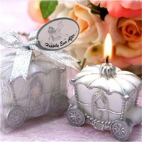 Wholesale Candle Favors Free Shipping - Free Shipping 50PCS Happily ever After Fairy Royal Carriage Candle for Wedding Favors Party Reception Giveawasy Table Decoration Gifts