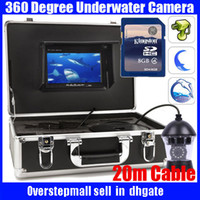 Wholesale Underwater Camera Video Recorders - 50m cable 360 Degree rotation SONY CCD Underwater video recorder Camera with 7 Inch LCD moniot box 360 rotation underwater fishing camera