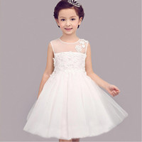 Wholesale Lace Embroidered Christening Gowns - CHENLVXIE New White Lace Girls Pageant Dress Embroidered Sleeveless Festival Flower Girls Dress Girl Birthday Dress