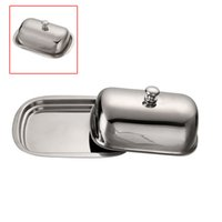 Wholesale Kitchen Craft Traditional Silver VonShef Stainless Steel Retro Butter Dish with Lid Easy to Clean Home use