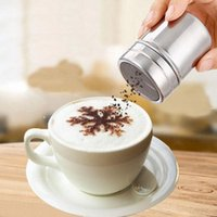 Wholesale ice salt - Stainless Steel Chocolate Mesh Shaker Cocoa Flour Salt Powder Icing Sugar Cappuccino Coffee Sifter Lid Kitchen Tools ZA4534