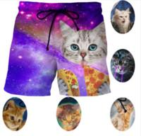 Wholesale Kitty Shorts - Cartoon Space Galaxy Cat 3D Print Board Shorts Thin Short Pants Funny Fashion Kitty Cat Eat Pizza Men' Beach Shorts Pants 5XL H07