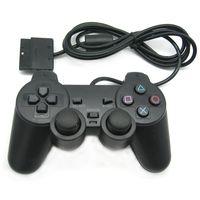 ingrosso controller usb per ps2-Gamepad PS2 Controller cablato nero 1.8M Doppio joystick Joystick remoto per PlayStation