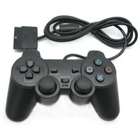 ratón auto teclado al por mayor-PS2 Gamepad Black Wired Controller 1.8M Double Shock Remote joystick Joypad para PlayStation