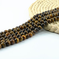 Wholesale white tigers eye beads - A Grade Yellow Tiger Eye Smooth Round Bead Natural Tiger's Eye Semi Precious Stone 4 6 8 10mm Full Strand 15'' L0247-A#