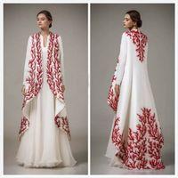 Wholesale Embroidery Muslim Dress Abaya Kaftan - Embroidery Arabic Moroccan Kaftan 2017 Turkish Women Formal Evening Gowns Long Sleeve Dubai Abaya Muslim Prom Dress Abendkleider