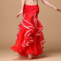 Wholesale Belly Dance Skirts For Girls - Stage Wear 2017 New Belly Dancing Clothing Long Fly Skirts Professional Women Chiffon Belly Dance Skirt for Girls