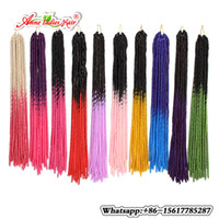 Wholesale Pink Hair Weft - 5PACKS 20Strands Synethetic Faux locs BraidS Soft Crochet Hair Two Tone Ombre T1B Pink blond BUG RED Braiding Hair