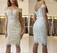 Wholesale White Sheer Night Gowns - Sexy Short Cocktail Dresses with Champagne Lining Off Shoulder Sheath Lace Beaded 2017 Party Queen Night Club Dress Gowns for Homecoming